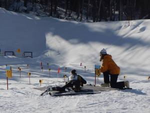 skier shooting at range