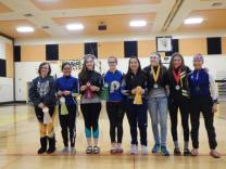 girls high awards, girls standing in a line after given awards