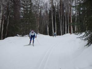 skiers skiing, skier in distance.